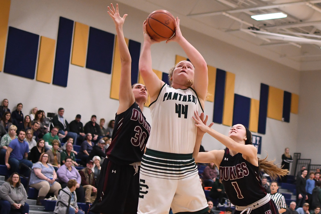 . Eric Bonzar�The Morning Journal Elyria Catholic\'s Ally Winnen (44) shoots around Wellington\'s Lexi Wright (1) and Erin Frenk (30).