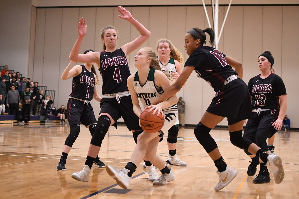 . Eric Bonzar�The Morning Journal<br> Elyria Catholic\'s Julia Allegretto (2) is fouled by Wellington guard Jalen Gibbs (10) as she drives to the basket.