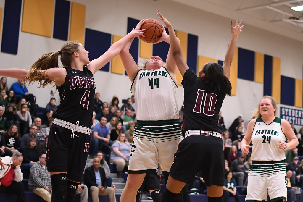 . Eric Bonzar�The Morning Journal<br> Elyria Catholic\'s Ally Winnen (44) shoots over Wellington\'s Jalen Gibbs (10) and Alexis Lehmkuhl (4).