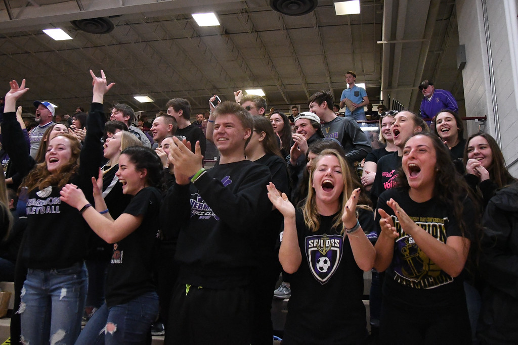 . Eric Bonzar�The Morning Journal<br> The Vermilion Sailors student section cheer on the boys basketball team, who traveled to Willard, Ohio to face the Shelby Whippets in  a OHSAA D-II sectional finals match-up, March 2, 2018. The Sailors beat the Whippets, 53-47 to advance to the district semifinals.