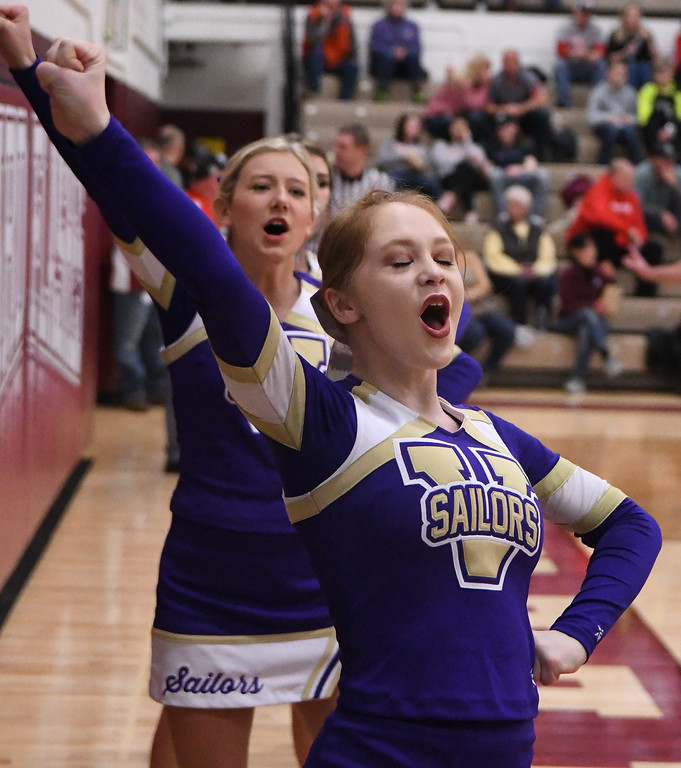 . Eric Bonzar�The Morning Journal<br> The Vermilion Sailors cheerleaders cheer on the boys basketball team, who traveled to Willard, Ohio to face the Shelby Whippets in  a OHSAA D-II sectional finals match-up, March 2, 2018. The Sailors beat the Whippets, 53-47 to advance to the district semifinals.