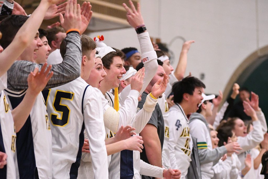 . Eric Bonzar�The Morning Journal Olmsted Falls\' student section roots on their team, March 3, 2017.