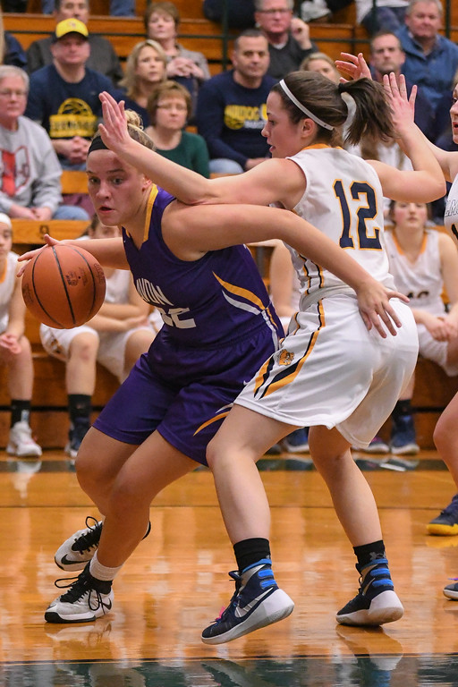 . Eric Bonzar�The Morning Journal Avon\'s Juliann Walker is called for the foul as she tries to drive the baseline around Olmsted Falls guard Rachael Vance, March 3, 2017.