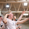 "Eric Bonzar—The Morning Journal<br /> An Olmsted Falls student launches an ""air-row"" after a bucket by his school's team, March 3, 2017."