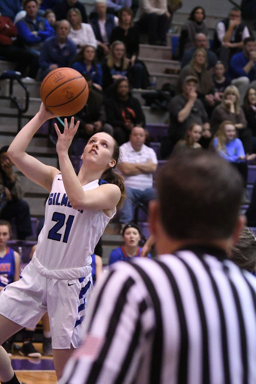 . Eric Bonzar�The Morning Journal<br> Gilmour\'s Annika Corcoran scores on a fast break.