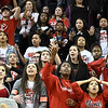 Eric Bonzar—The Morning Journal<br /> The Elyria student section react to the replay after St John's Jesuit Titans knock off the Elyria Pioneers, 48-47, in the D-I Akron/Toledo Regional Semifinal game, March 15, 2017.