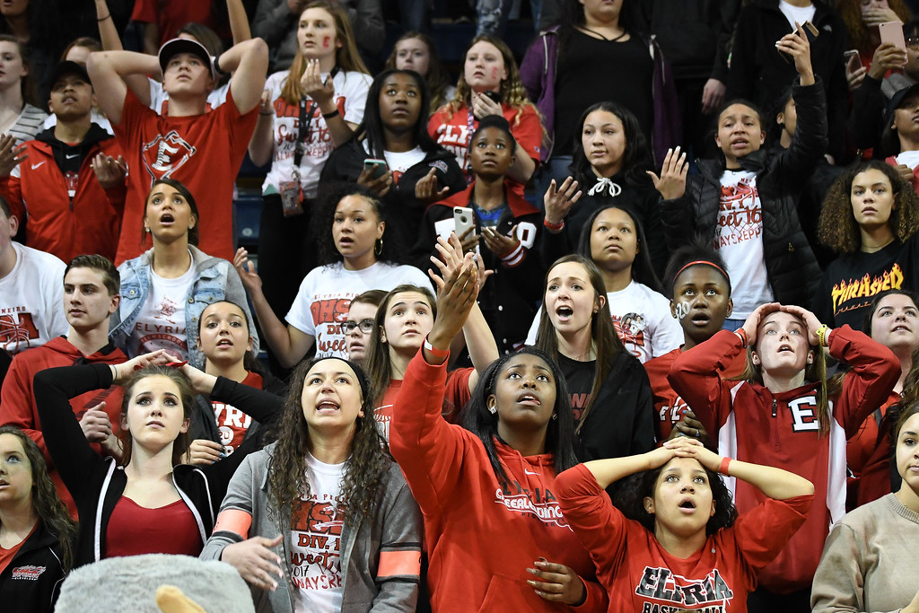 . Eric Bonzar�The Morning Journal The Elyria student section react to the replay after St John\'s Jesuit Titans knock off the Elyria Pioneers, 48-47, in the D-I Akron/Toledo Regional Semifinal game, March 15, 2017.