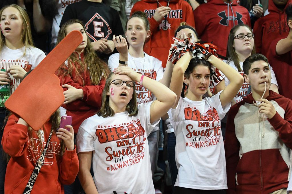. Eric Bonzar�The Morning Journal The Elyria student section is left stunned after St John\'s Jesuit Titans knock off the Elyria Pioneers, 48-47, in the D-I Akron/Toledo Regional Semifinal game, March 15, 2017.