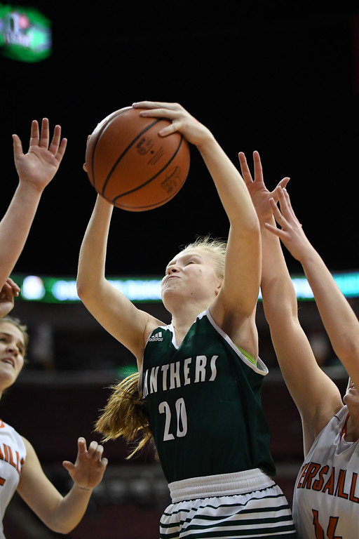 . Eric Bonzar�The Morning Journal<br> Elyria Catholic\'s Julia Allegretto pulls in a rebound over the Versailles Tigers defenders, March 15, 2018.