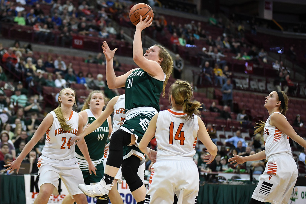 . Eric Bonzar�The Morning Journal<br> Elyria Catholic sophomore Abby Winnen (24) splits the Versailles Tigers defense as she puts up a shot, March 15, 2018.