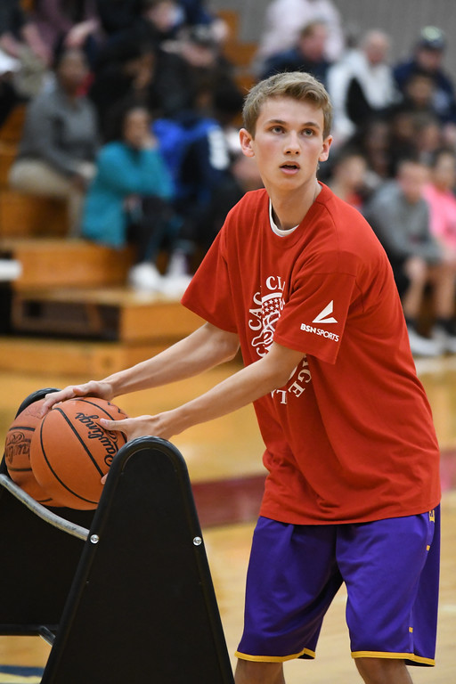 . Eric Bonzar�The Morning Journal Avon\'s Ben Yurkovich competes in the 3-point shooting contest, during the Legeza Cage Classic All-Stars event, held at Oberlin College, March 26, 2017. Yurkovich won the contest.