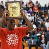 "Eric Bonzar—The Morning Journal<br /> Lorain Titans senior Naz Bohannon is named ""Mr. Basketball"" during the Legeza Cage Classic All-Stars event, held at Oberlin College, March 26, 2017."