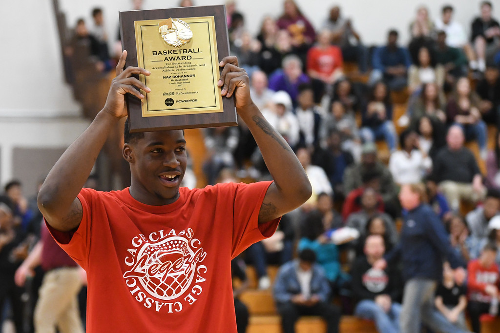 ". Eric Bonzar�The Morning Journal Lorain Titans senior Naz Bohannon is named ""Mr. Basketball\"" during the Legeza Cage Classic All-Stars event, held at Oberlin College, March 26, 2017."