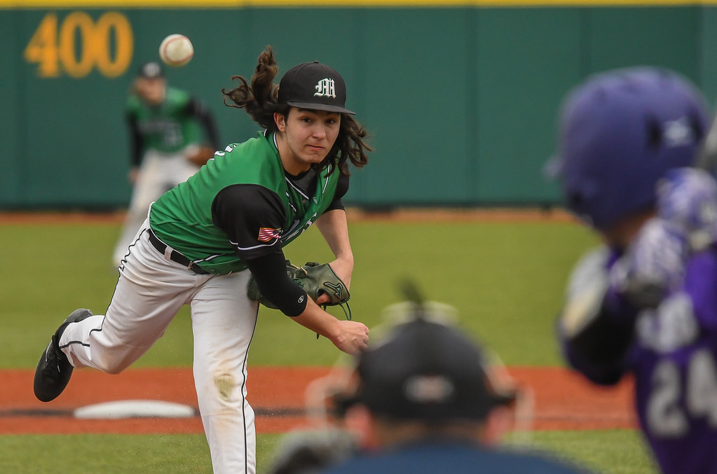 . Eric Bonzar�The Morning Journal<br> Mayfield pitcher Dominic DiPippo delivers to Avon batter Jackson Myers.