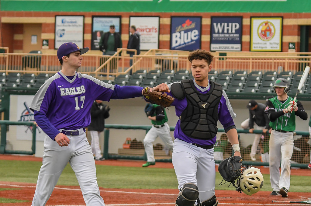 . Eric Bonzar�The Morning Journal<br> The Avon Eagles beat the Mayfield Wildcats 7-6, at Sprenger Stadium, March 31, 2018.