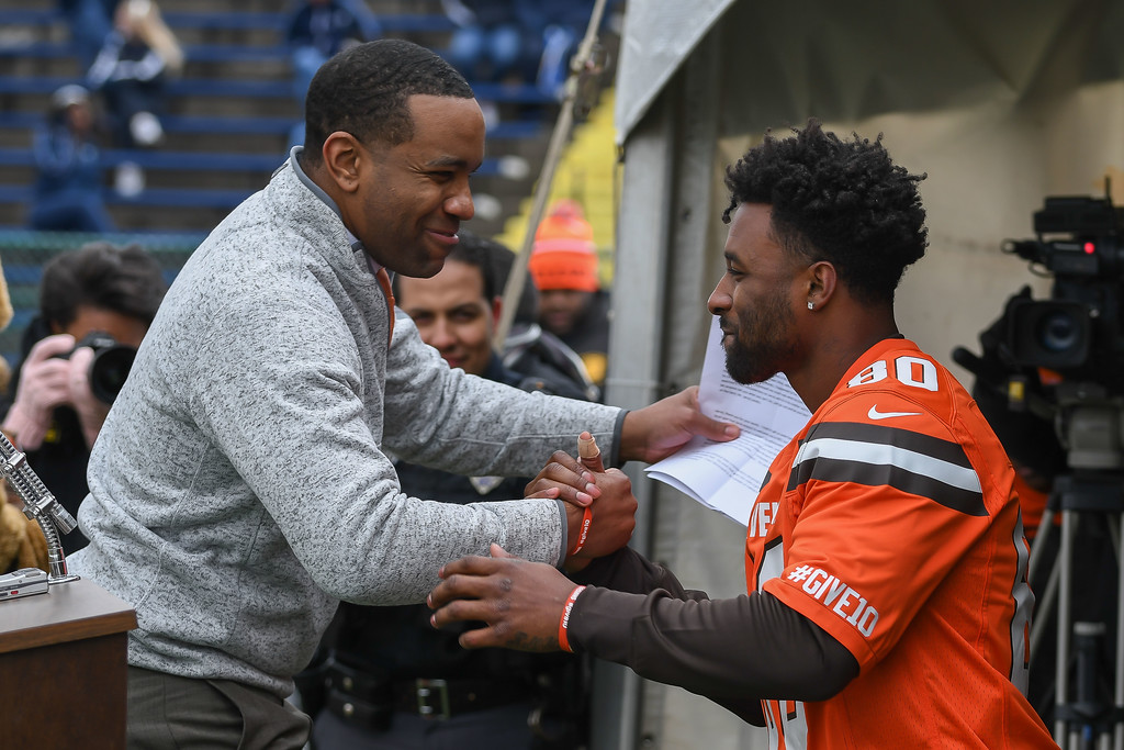 . Eric Bonzar�The Morning Journal<br> Cleveland Browns wide receiver Jarvis Landry is introduced by Lorain City Schools CEO David Hardy Jr. during a ground breaking event held at George Daniel Field, April 17, 2018. Through the generosity of the Cleveland Browns organization and Dee and Jimmy Haslam, Lorain High School athletes will be able to play sports on a high-quality synthetic turf field beginning this fall.