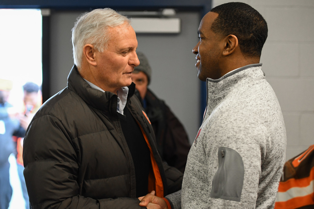 . Eric Bonzar�The Morning Journal<br> Browns owner Jimmy Haslam, left, shakes hands with Lorain City Schools CEO David Hardy Jr. during a ground breaking event held at George Daniel Field, April 17, 2018. Through the generosity of the Cleveland Browns organization and Dee and Jimmy Haslam, Lorain High School athletes will be able to play sports on a high-quality synthetic turf field beginning this fall.