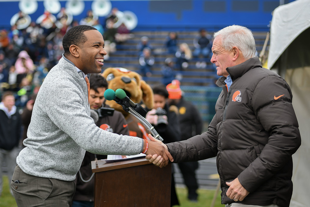 . Eric Bonzar�The Morning Journal<br> Cleveland Browns Owner Jimmy Haslam,  right, is introduced by Lorain City Schools CEO David Hardy Jr. during a ground breaking event held at George Daniel Field, April 17, 2018. Through the generosity of the Cleveland Browns organization and Dee and Jimmy Haslam, Lorain High School athletes will be able to play sports on a high-quality synthetic turf field beginning this fall.