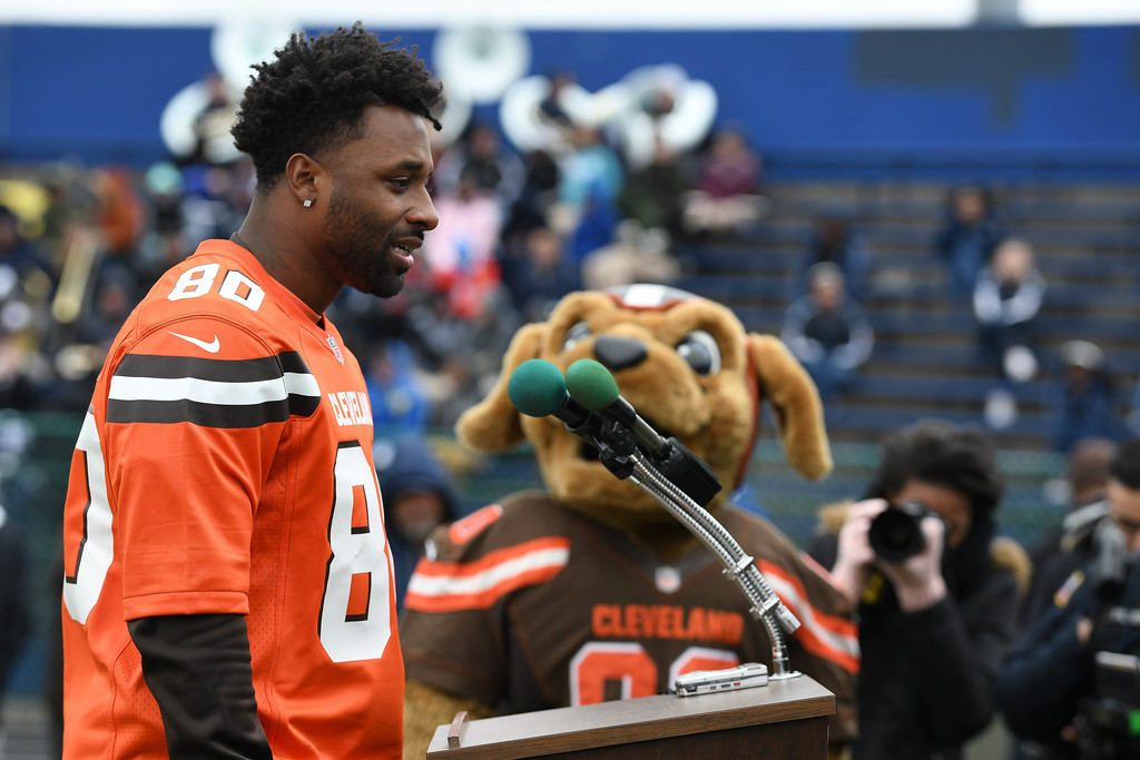 . Eric Bonzar�The Morning Journal<br> Cleveland Browns wide receiver Jarvis Landry speaks to the crowd during a ground breaking event held at George Daniel Field, April 17, 2018. Through the generosity of the Cleveland Browns organization and Dee and Jimmy Haslam, Lorain High School athletes will be able to play sports on a high-quality synthetic turf field beginning this fall.