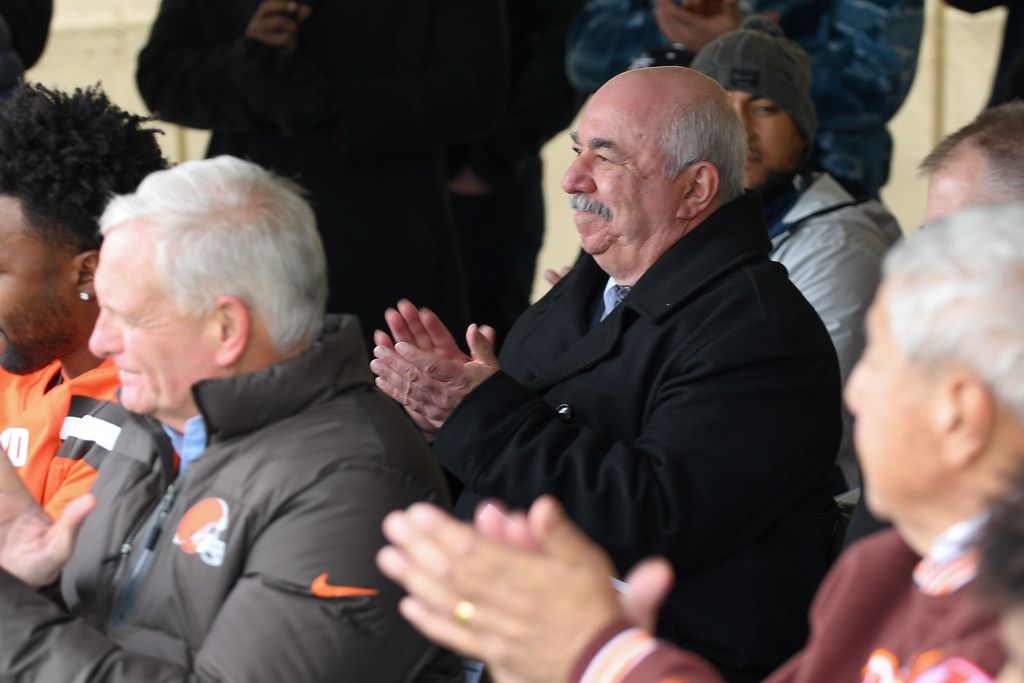 . Eric Bonzar�The Morning Journal<br> Lorain police Chief Cel Rivera applauds the Browns\' dedication to high school sports during a ground breaking event held at George Daniel Field, April 17, 2018. Through the generosity of the Cleveland Browns organization and Dee and Jimmy Haslam, Lorain High School athletes will be able to play sports on a high-quality synthetic turf field beginning this fall.