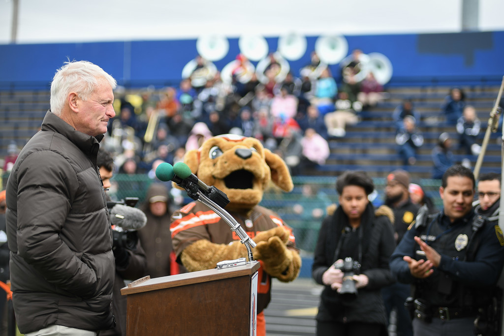 . Eric Bonzar�The Morning Journal<br> Cleveland Browns Owner Jimmy Haslam speaks to the crowd during a ground breaking event held at George Daniel Field, April 17, 2018. Through the generosity of the Cleveland Browns organization and Dee and Jimmy Haslam, Lorain High School athletes will be able to play sports on a high-quality synthetic turf field beginning this fall.