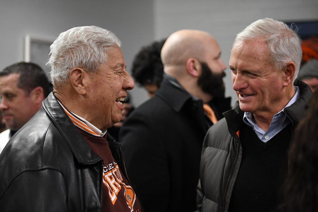 . Eric Bonzar�The Morning Journal<br> Browns owner Jimmy Haslam, right, and Lorain council President Joel Arredondo share a laugh during a ground breaking event held at George Daniel Field, April 17, 2018. Through the generosity of the Cleveland Browns organization and Dee and Jimmy Haslam, Lorain High School athletes will be able to play sports on a high-quality synthetic turf field beginning this fall.