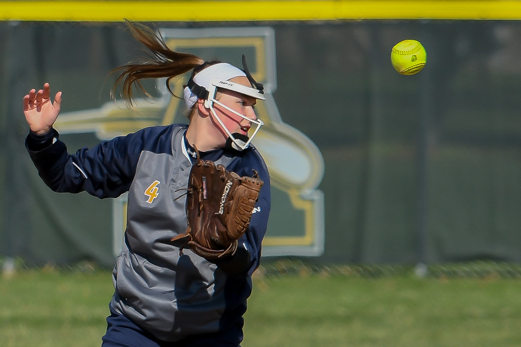 . Eric Bonzar�The Morning Journal<br> North Ridgeville shortstop Emma Dubena loses a line shot in the infield, April 19, 2018.