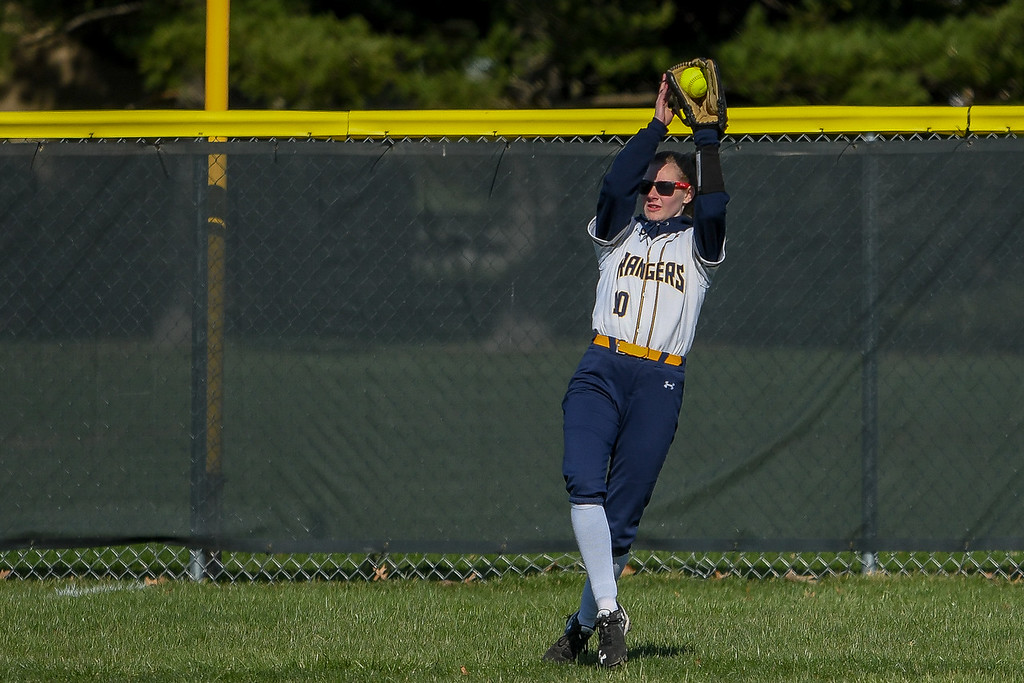 . Eric Bonzar�The Morning Journal<br> North Ridgeville left fielder Hailey Ables pulls in a pop fly, April 19, 2018.