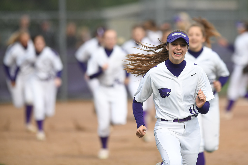 . Eric Bonzar�The Morning Journal<br> Keystone\'s Alexis Bowen runs sprints with her teammates, between innings, May 11, 2018.