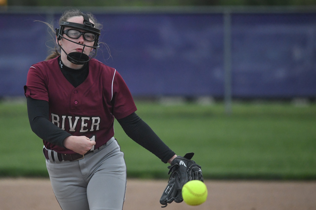 . Eric Bonzar�The Morning Journal<br> Rocky River\'s Megan McBride took the mound against the Keystone Wildcats, May 11, 2018.