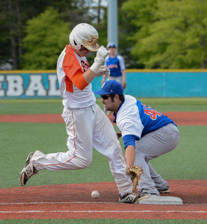 . Eric Bonzar�The Morning Journal Padua\'s Marc Ochoa is called out for impeding the throw to Bay first baseman Bryce Jackson, May 20, 2016.