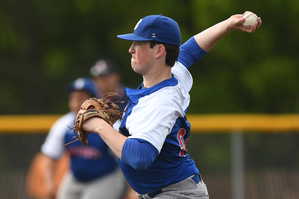 . Eric Bonzar�The Morning Journal Bay pitcher Liam Hanna pitched six innings, giving up five hits and one run, in the team\'s 1-0 district championship loss to the Padua Bruins, May 20, 2016.