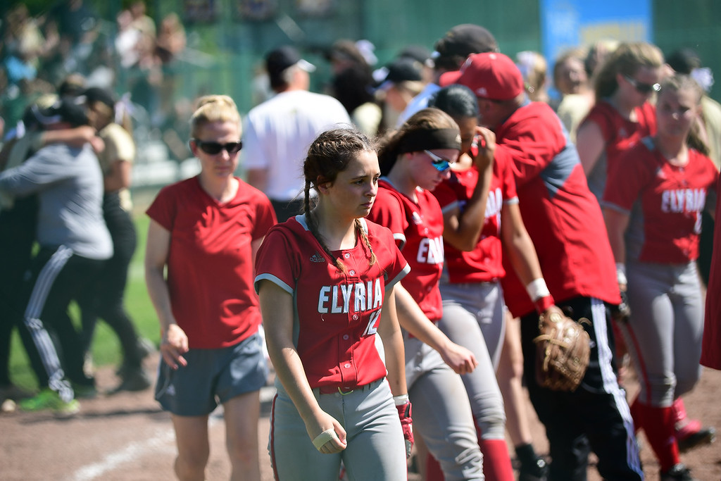 . Eric Bonzar�The Morning Journal<br> The Elyria Pioneers\' Division I state title defense came to an end, May 23, 2018, as they fell to the Perrysburg Yellow Jackets, 1-0, in 10 innings.