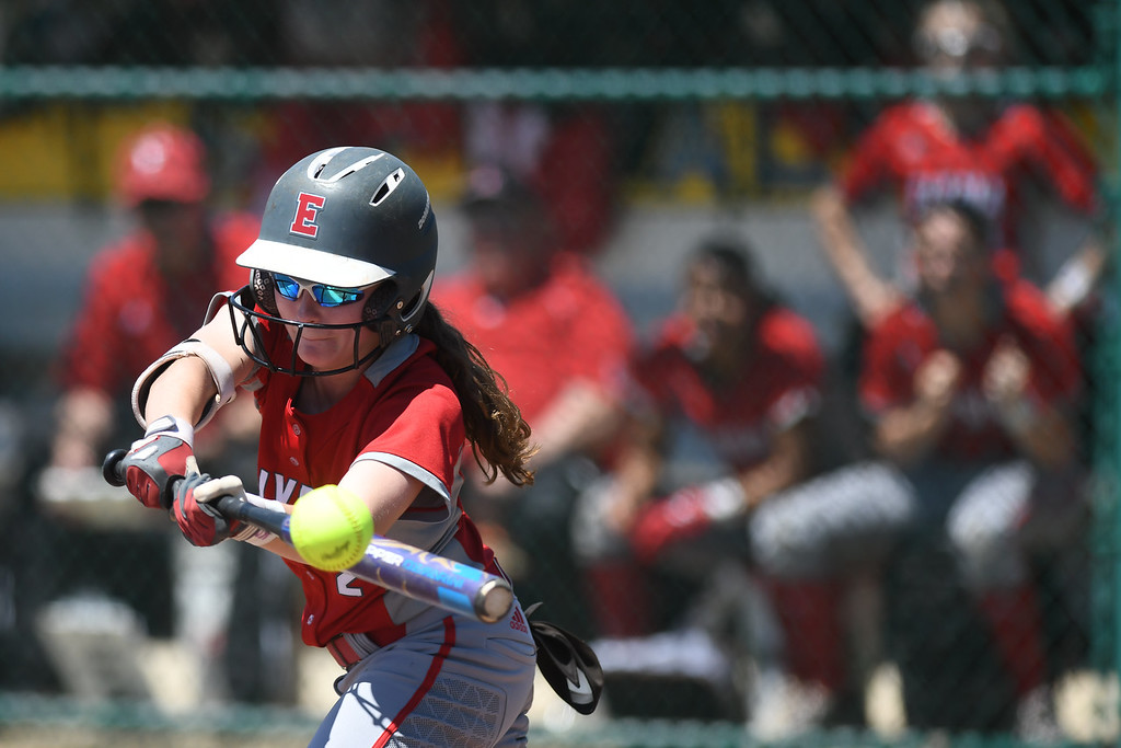 . Eric Bonzar�The Morning Journal<br> Elyria\'s Macy Taylor fouls off a pitch.