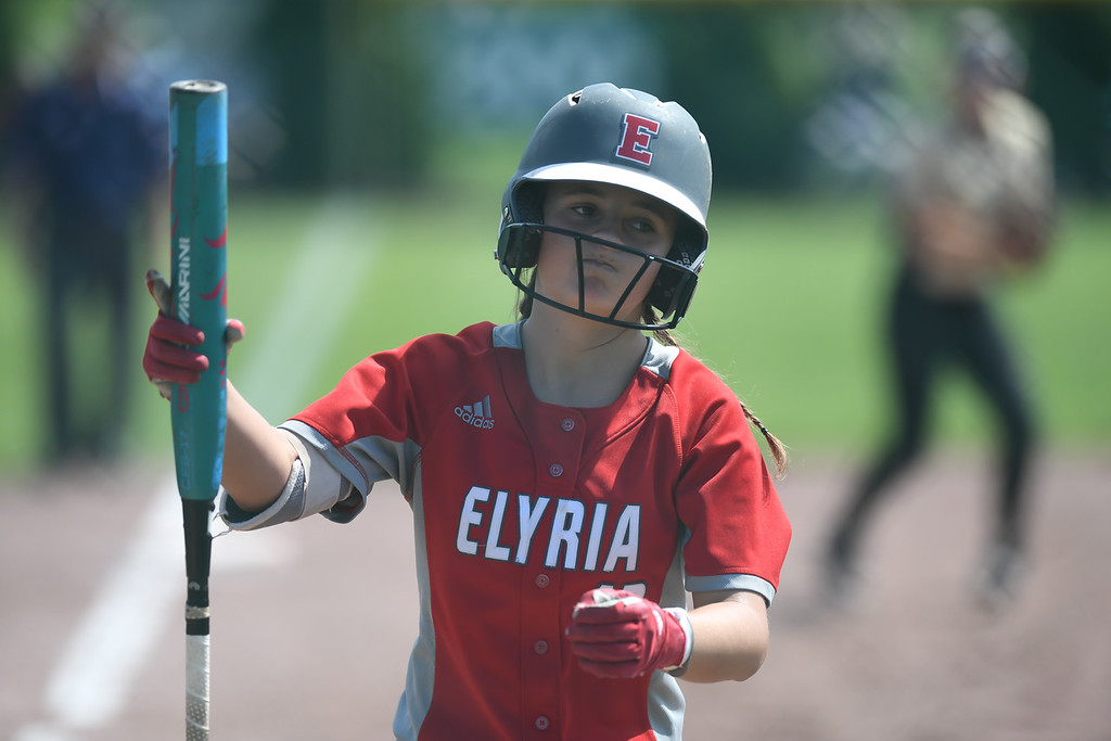 . Eric Bonzar�The Morning Journal<br> Elyria\'s Mallory Phares reacts after striking out.