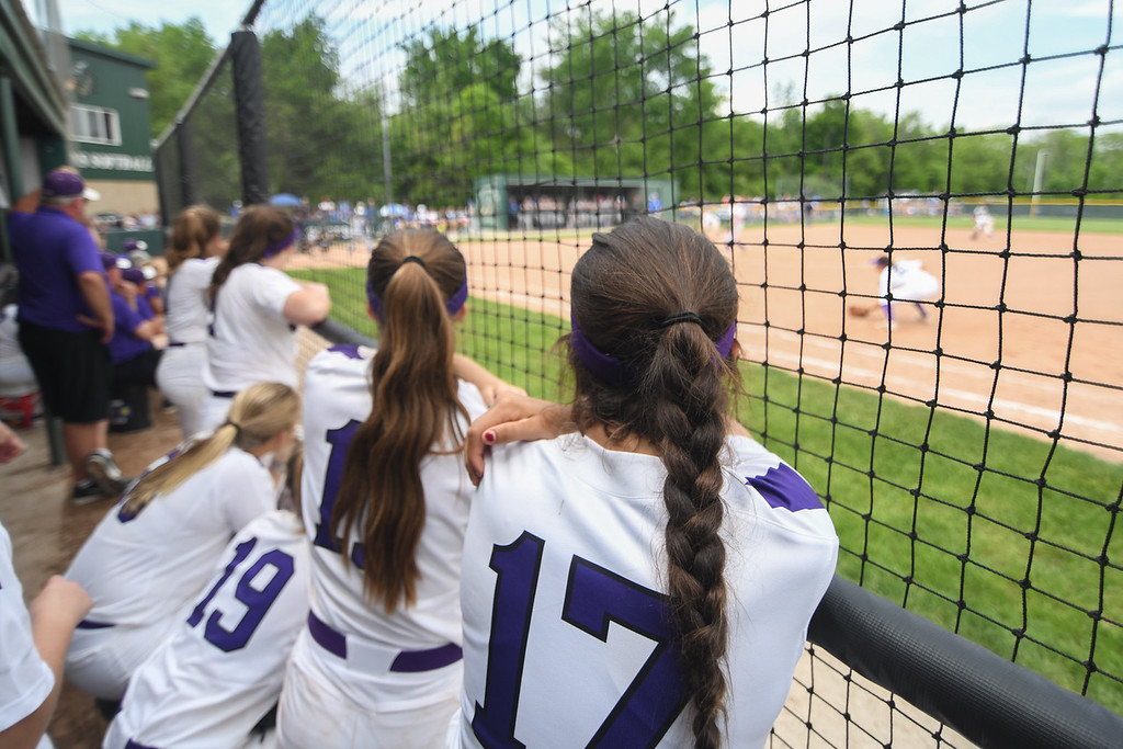 . Eric Bonzar�The Morning Journal<br> The Keystone Wildcats\' dugout watches their teammates close out the Division II Tiffin Region with an 8-2 win over the Defiance Bulldogs, May 26, 2018. The team will play in the school\'s 17th state final four appearance on May 31.