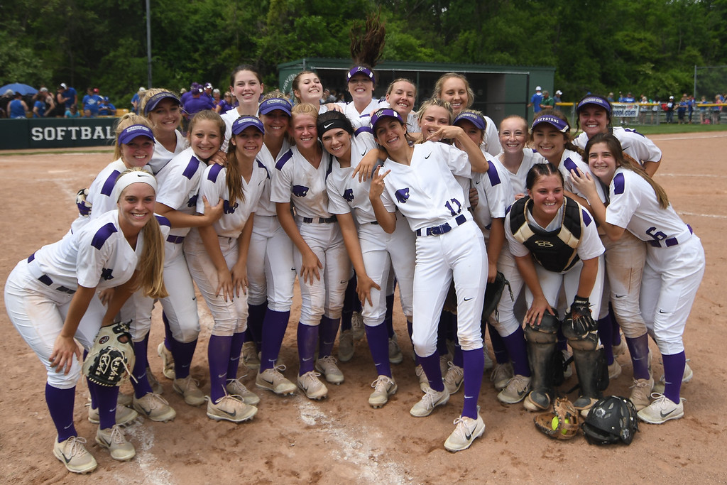 . Eric Bonzar�The Morning Journal<br> The Keystone Wildcats celebrate their 8-2, Division II Tiffin Region win over the Defiance Bulldogs, May 26, 2018. The team will play in the school\'s 17th state final four appearance on May 31.