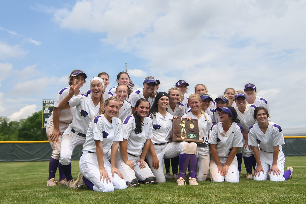 . Eric Bonzar�The Morning Journal<br> The Keystone Wildcats pose for celebratory photos after their 8-2, Division II Tiffin Region win over the Defiance Bulldogs, May 26, 2018. The team will play in the school\'s 17th state final four appearance on May 31.