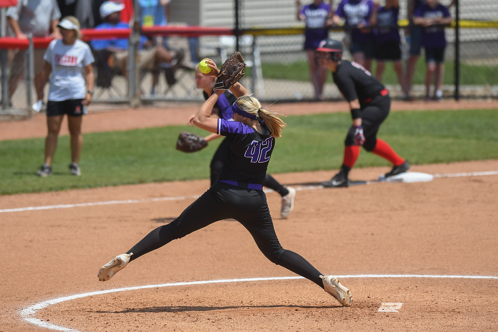 . Eric Bonzar�The Morning Journal<br> Keystone pitcher Sydney Campbell pitched a complete game, giving up just two hits and no runs. The junior struck out six and walked one in the Wildcats\' 1-0 win over the Fairfield Union Falcons.
