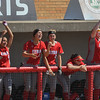 Eric Bonzar—The Morning Journal<br /> The Elyria Pioneers dugout cheers on their team, June 1, 2017.