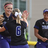 Eric Bonzar—The Morning Journal<br /> Keystone's Lauren Shaw and Madi Cendrosky (6) celebrate an early strikeout by Shaw, June 3, 2016. The Wildcats defeated the Hamilton Ross Rams 18-0 in the OHSAA Division II State Semifinals, June 3, 2016.