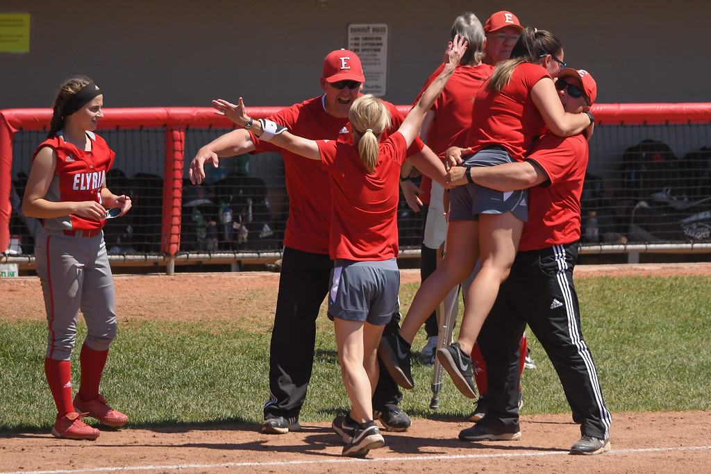 . Eric Bonzar�The Morning Journal The Elyria Pioneers are crowned the D-I state champions after the team\'s 4-3 win over the Lebanon Warriors, June 3, 2017.
