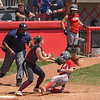 Eric Bonzar—The Morning Journal<br /> Elyria's Macy Taylor is tagged at home plate by Lebanon catcher Molly Osborne in the bottom of the seventh. An interference call at third base reversed the call, giving the Pioneers the run and a 4-3 D-I state championship win over the Warriors.