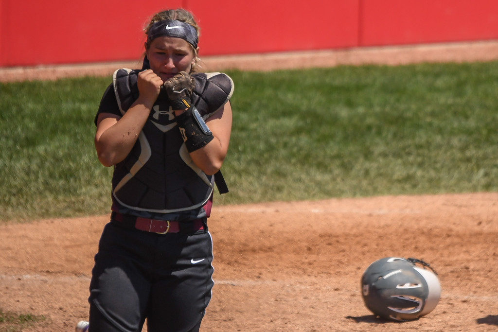 . Eric Bonzar�The Morning Journal Lebanon catcher Molly Osborne reacts after losing the D-I state championship game to the Elyria Pioneers, 4-3, June 3, 2017.