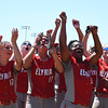 Eric Bonzar—The Morning Journal<br /> The Elyria Pioneers celebrate their team's D-I state championship win over the Lebanon Warriors, June 3, 2017.