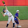 Eric Bonzar—The Morning Journal<br /> Keystone 's Ali Pyles sticks the bag as Akron Hoban's Alex Whitmore reaches up to snag the out, June 2, 2017.