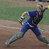 Eric Bonzar—The Morning Journal<br /> Keystone catcher Autumn Acord looks to throw to third base,  June 2, 2017.