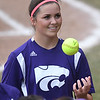 Eric Bonzar—The Morning Journal<br /> Keystone pitcher Lauren Shaw tosses the ball around.