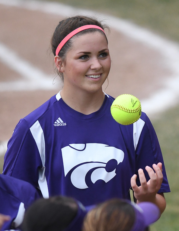 . Eric Bonzar�The Morning Journal Keystone pitcher Lauren Shaw tosses the ball around.