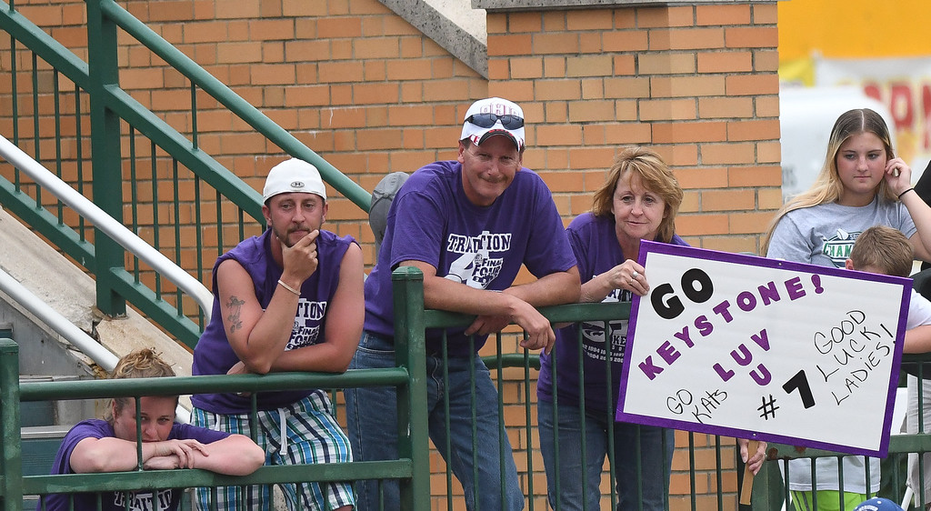 . Eric Bonzar�The Morning Journal Keystone fans cheer on their team and number seven, Autumn Acord.